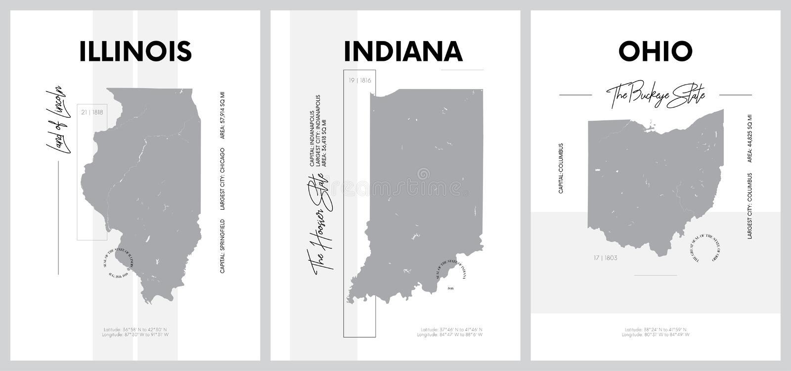 Vector posters with highly detailed silhouettes of maps of the states of America, Division East North Central - Illinois, Indiana. Ohio - set 4 of 17 stock illustration