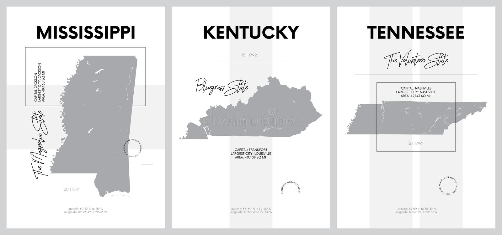 Vector posters with highly detailed silhouettes of maps of the states of America, Division East South Central - Mississippi,. Kentucky, Tennessee - set 11 of 17 vector illustration