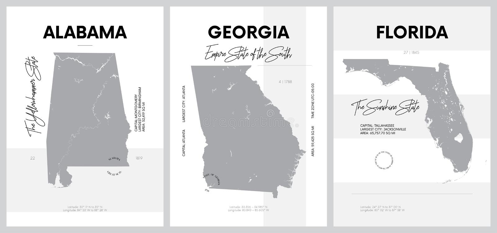 Vector posters with highly detailed silhouettes of maps of the states of America, Division South Atlantic and East South Central. Alabama, Georgia, Florida royalty free illustration