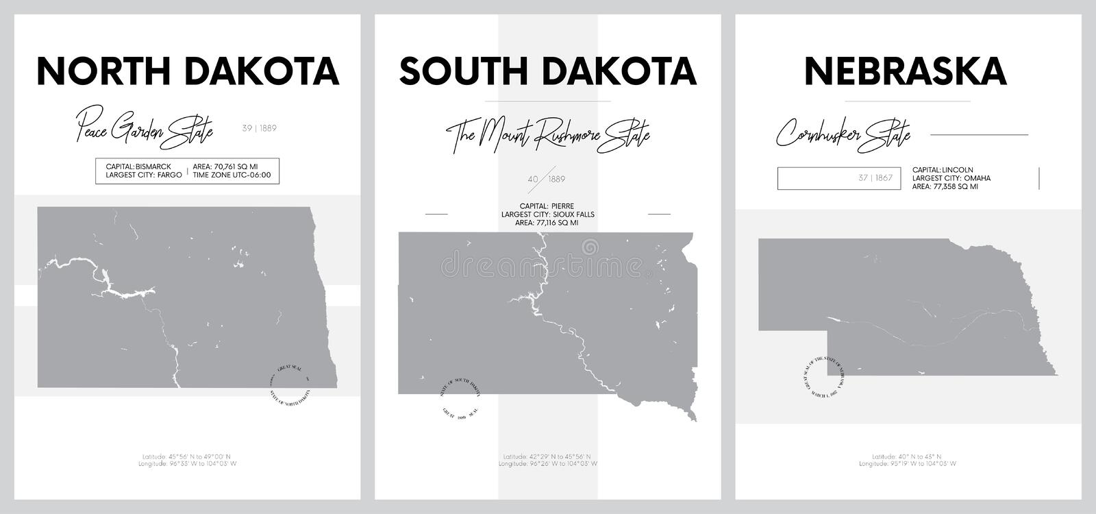 Vector posters with highly detailed silhouettes of maps of the states of America, Division West North Central - North Dakota,. South Dakota, Nebraska - set 7 of royalty free illustration
