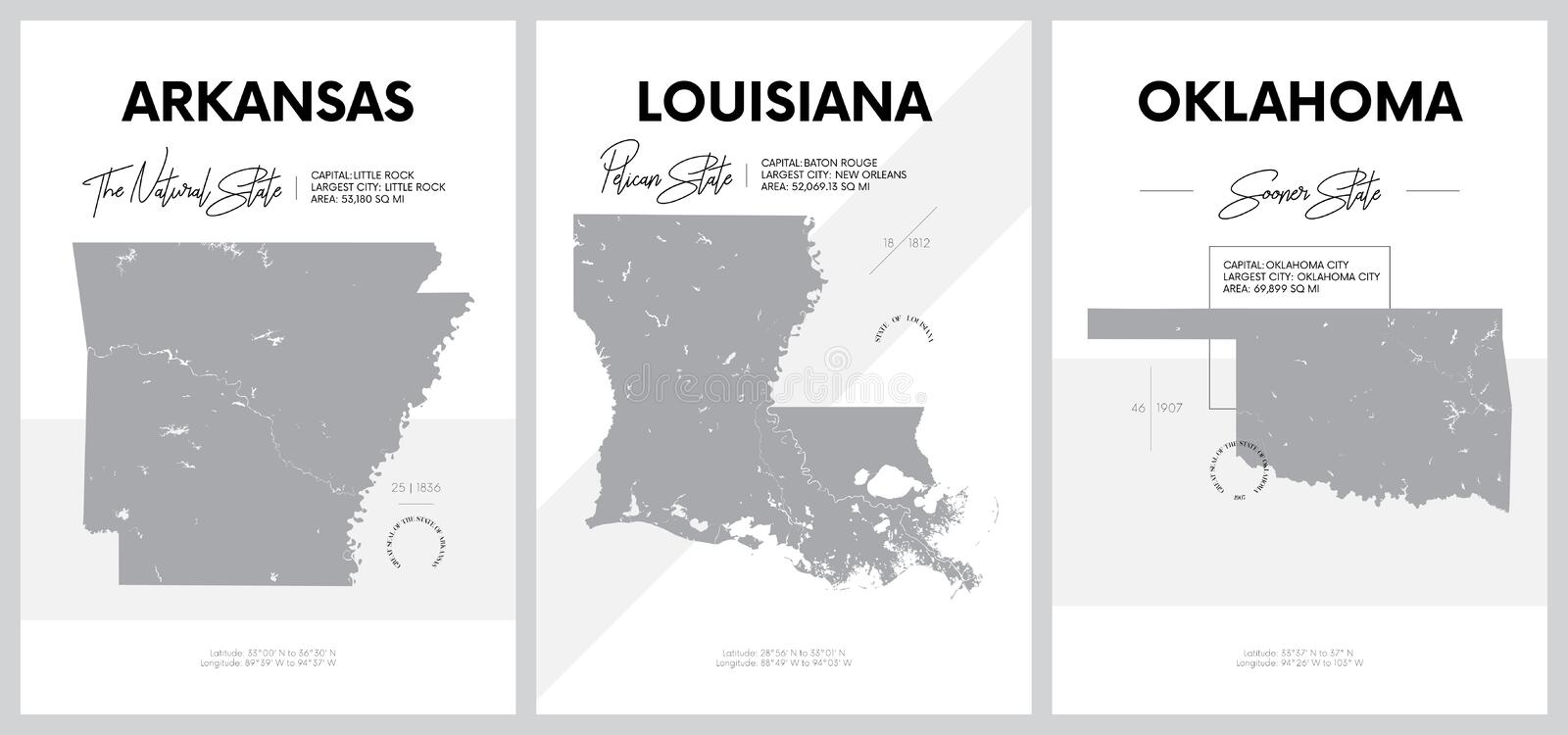 Vector posters with highly detailed silhouettes of maps of the states of America, Division West South Central - Arkansas,. Louisiana, Oklahoma - set 12 of 17 royalty free illustration
