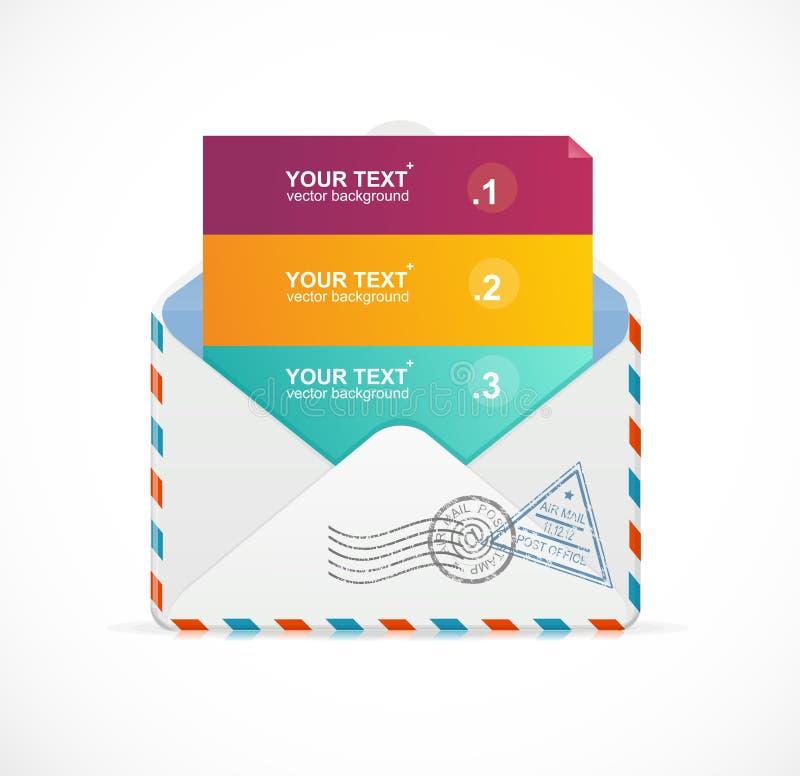 Vector Postpostkartenmenü mit 3 Wahlen 123 lizenzfreie abbildung