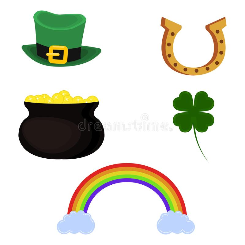 Vector pot of gold, leprechaun hat, horseshoe, four leaf clover and rainbow. Set of symbol for St. Patrick`s Day stock illustration