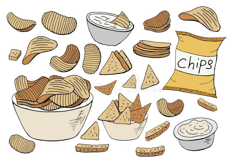 Vector potato chips collection isolated on white background stock illustration