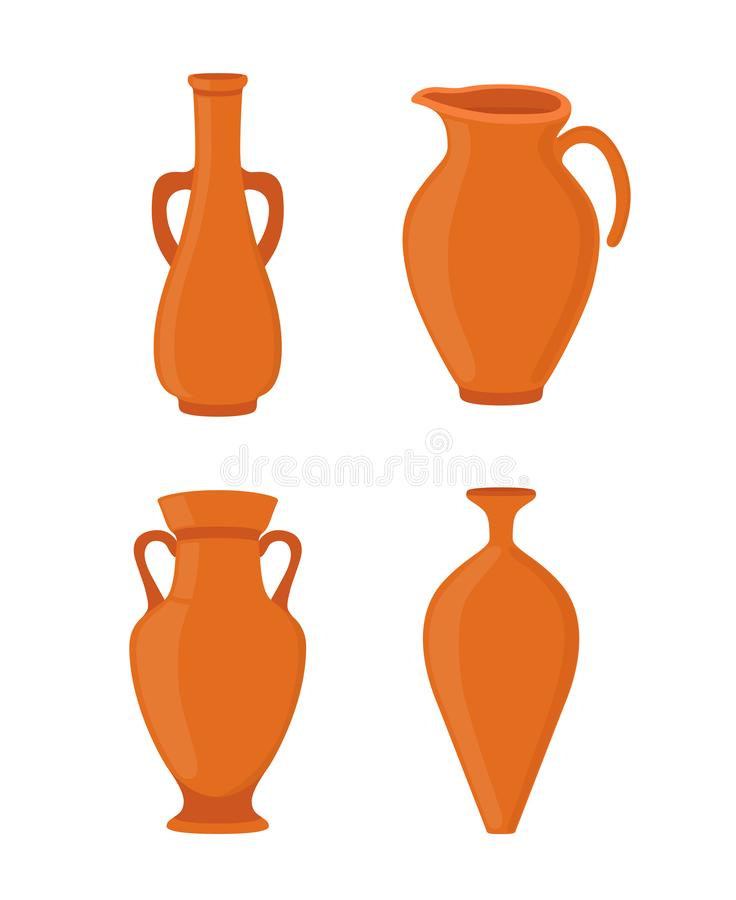 Vector pottery - ancient greek vase, amphora, antique pitcher. Ceramics vector illustration
