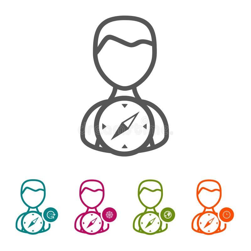 Vector povos com ícones do compasso na linha fina estilo e projeto liso ilustração do vetor