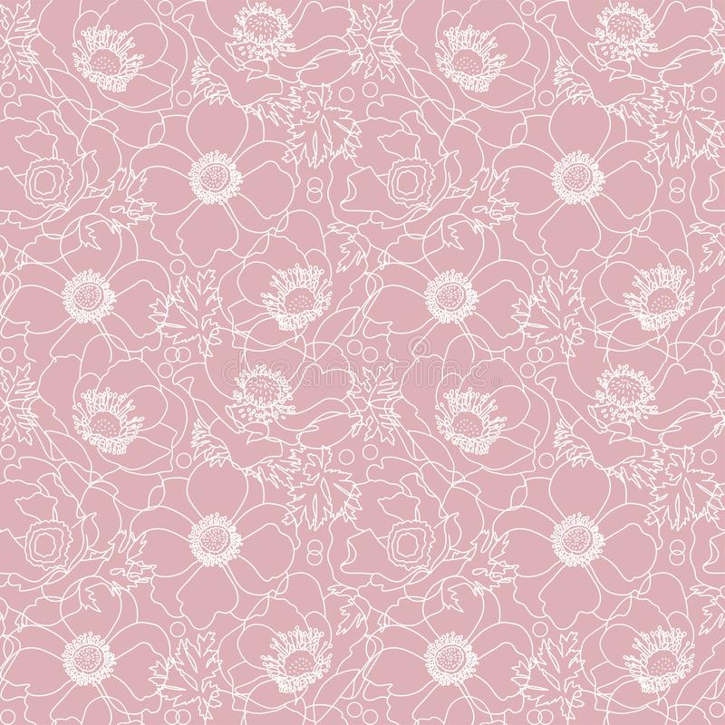 Vector powdery pink lace flowers poppy elegant seamless pattern background with hand drawn white line art floral elements.  royalty free illustration