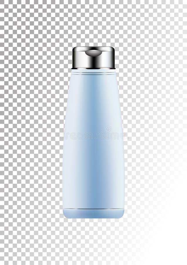Vector a prata vazia e o pacote azul para produtos cosméticos tubo e garrafa para a loção, gel do chuveiro, champô, bálsamo do ca ilustração do vetor