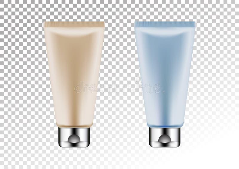 Vector a prata vazia e o pacote cor-de-rosa e azul para o tubo cosmético dos produtos para a loção, gel do chuveiro, champô, crem ilustração do vetor