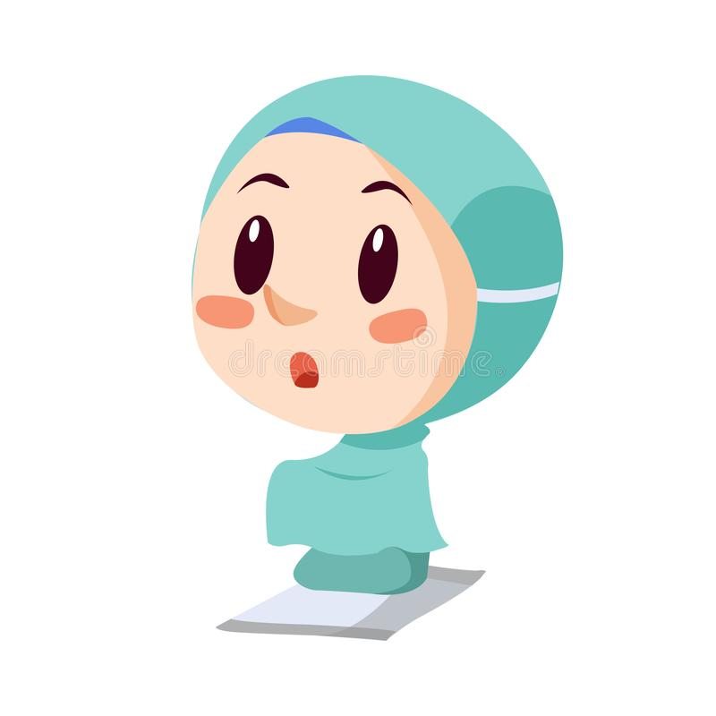 Vector - praying muslim girl. Vector illustration of praying muslim girl wearing blue mukena stock illustration