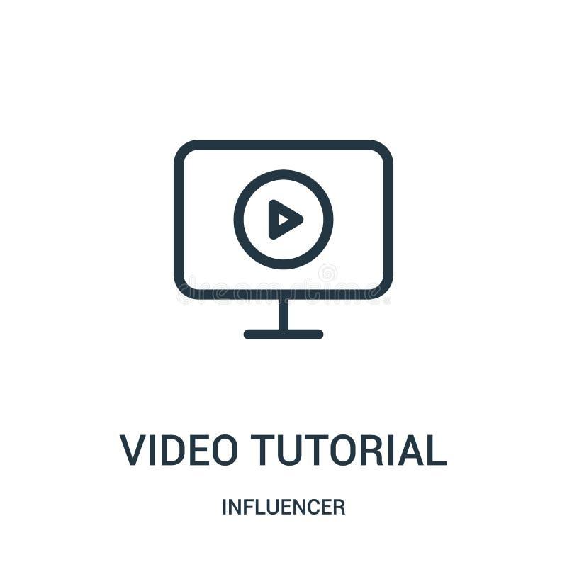 vector preceptoral video del icono de la colección del influencer Línea fina ejemplo preceptoral video del vector del icono del e ilustración del vector