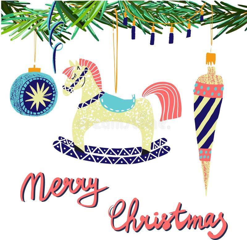 Vector precioso gráfico escandinavo de los juguetes y del caballo mecedora del árbol de navidad del modelo del collage del Año Nu stock de ilustración