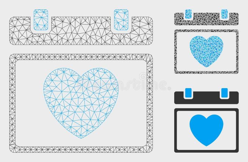 Vector precioso Mesh Wire Frame Model de la página del calendario e icono del mosaico del triángulo ilustración del vector