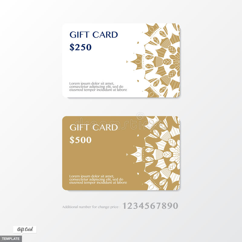 Vector, Premium Gift card with ornament graphic on gold and whit vector illustration