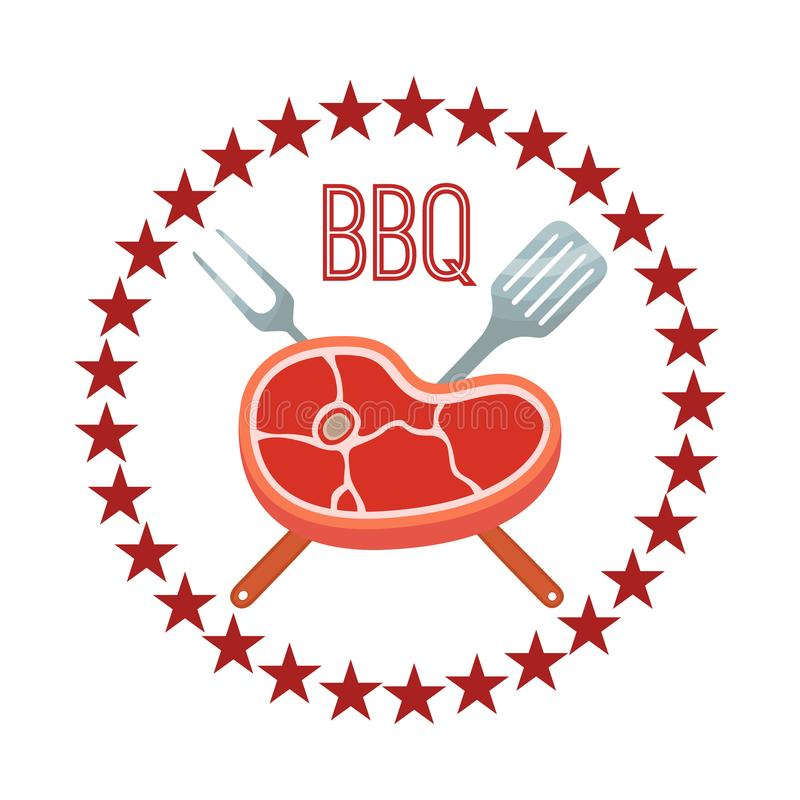 Vector premium quality meat, barbecue grill icon, bbq concept. Cartoon flat style. Vector illustration of premium quality meat, barbecue grill icon, bbq concept stock illustration