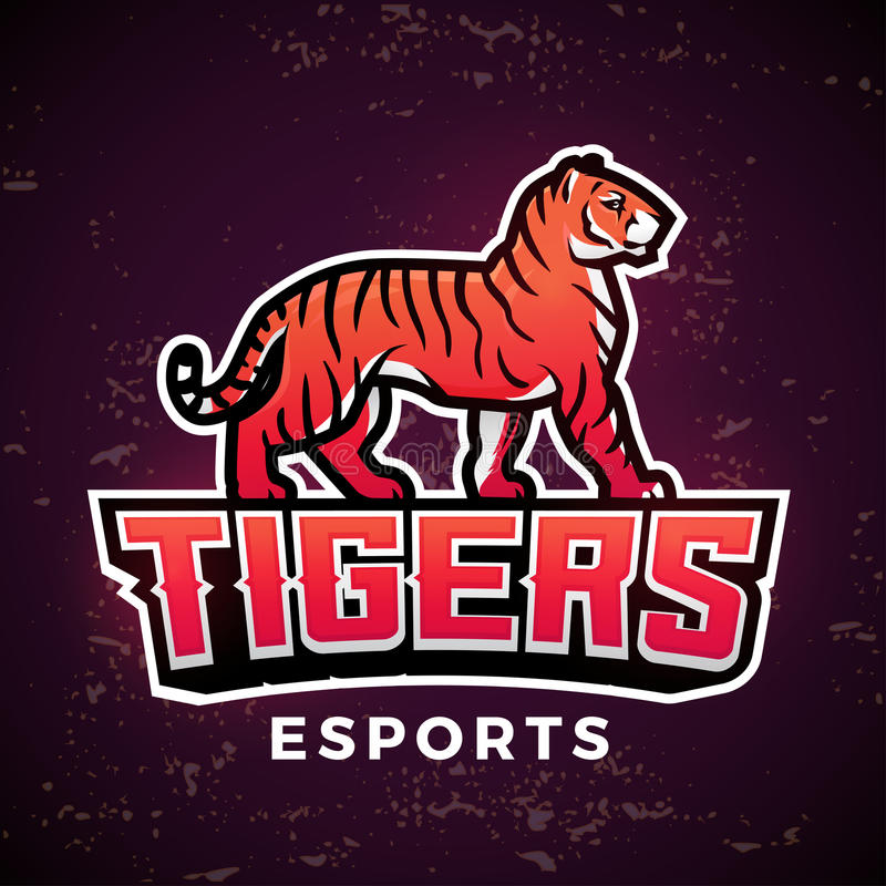 Vector preparado de antemano de la mascota del tigre Plantilla del diseño del logotipo del deporte Ejemplo del fútbol o del béisb ilustración del vector