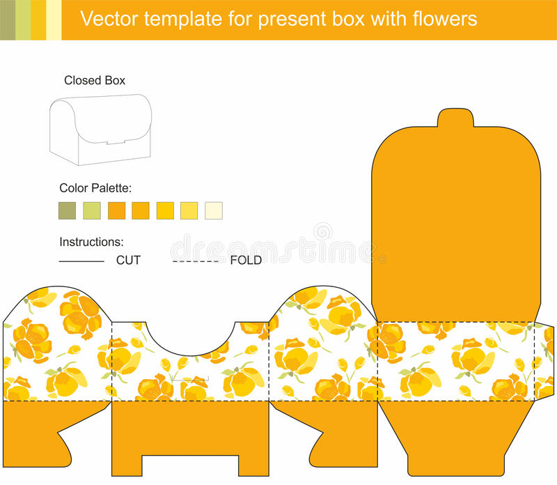 Vector Present Box With Yellow Flowers Stock Vector - Illustration ...