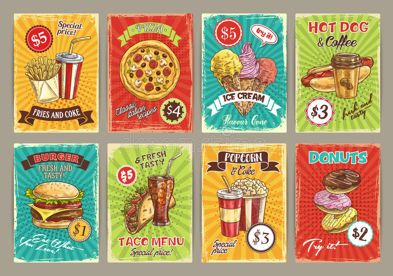 Vector price cards for fastfood meals restaurant. Fast food price cards for fastfood restaurant menu. Vector french fries, soda drink or pizza and ice cream or stock illustration