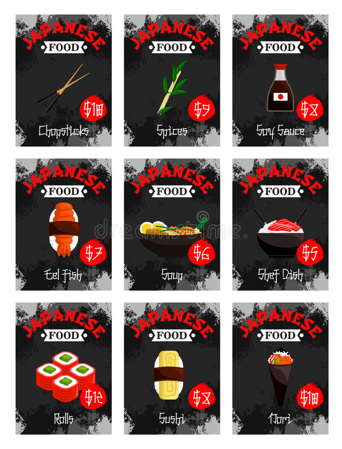 Vector price cards set for Japanese food menu. Japanese food restaurant price cards for sushi bar menu. Vector set of sushi rolls, chopsticks or spice and soy royalty free illustration