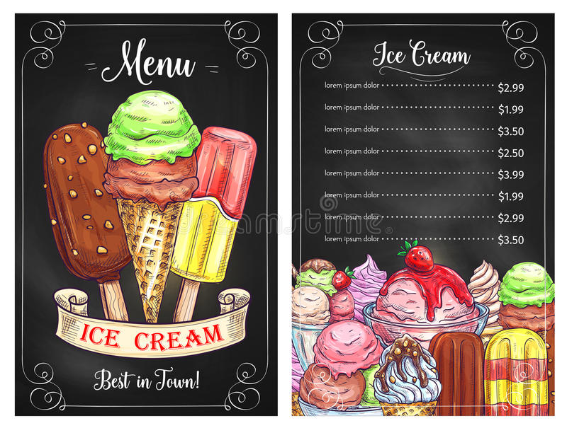 Vector price menu for ice cream desserts cafe. Ice cream cafe or restaurant price menu template. Vector design of frozen desserts, ice cream scoops in wafer royalty free illustration