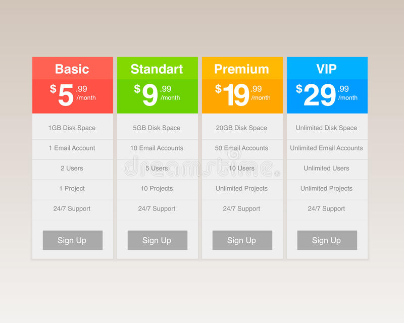 Vector Pricing Tables stock illustration