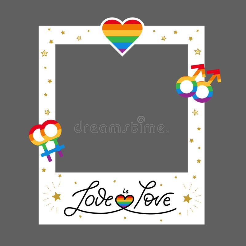 Vector pride frame LGBT symbols Love rainbow royalty free stock image