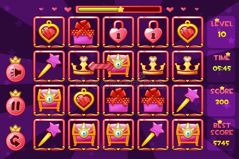 Princess girlish interface Match3 Games and buttons, game assets icons. Vector Princess girlish interface Match3 Games and buttons, game assets icons royalty free illustration