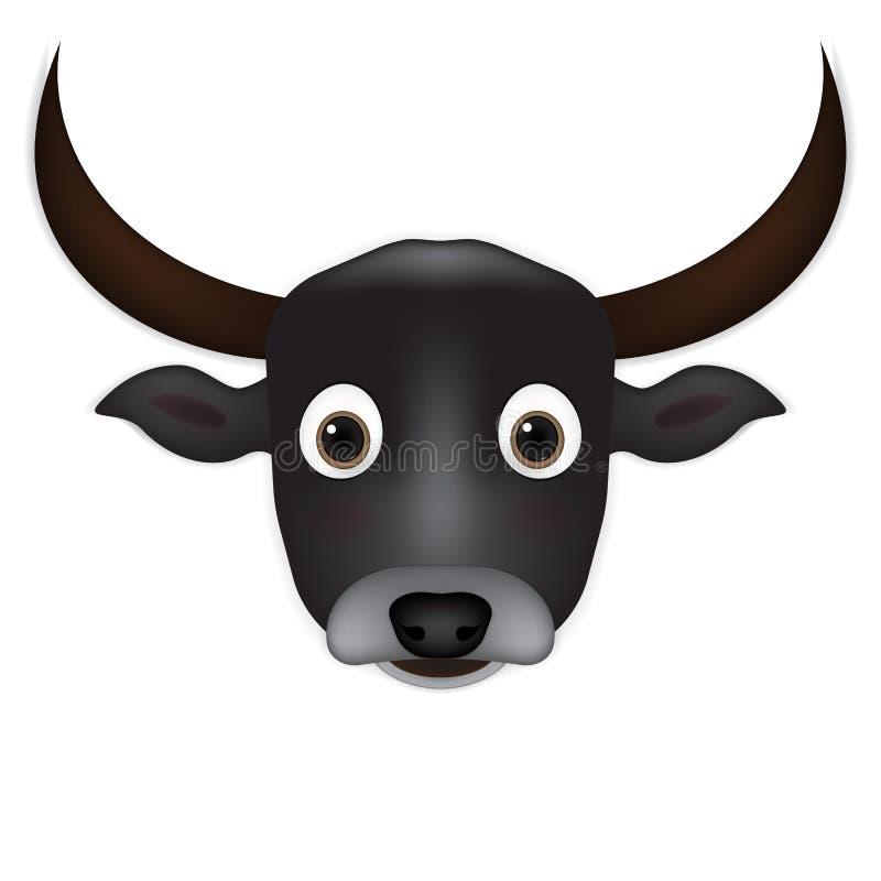 Vector principal de la historieta del búfalo stock de ilustración
