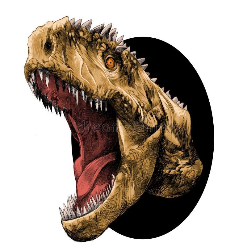 Vector principal del bosquejo del dinosaurio stock de ilustración