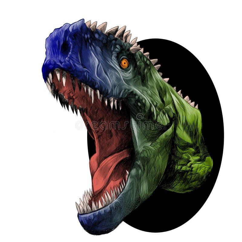 Vector principal del bosquejo del dinosaurio libre illustration
