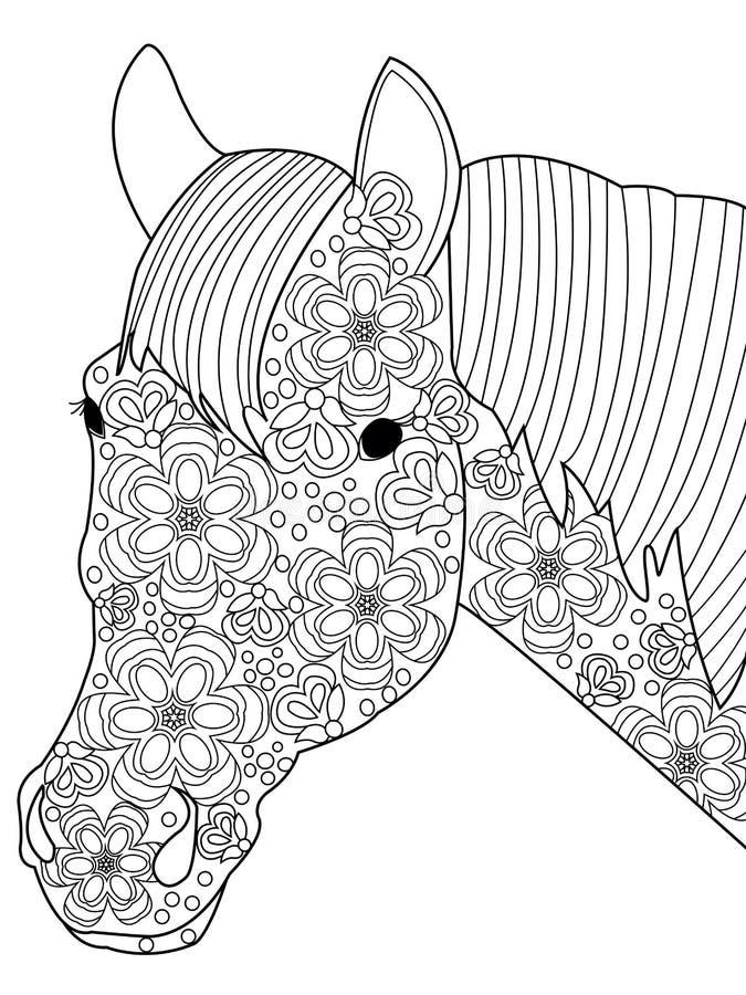 Vector principal del colorante del caballo para los adultos libre illustration