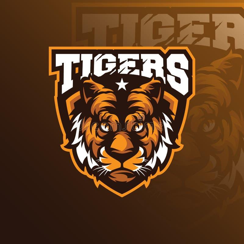 Vector principal del diseño del logotipo de la mascota del tigre con concepto del emblema de la insignia stock de ilustración