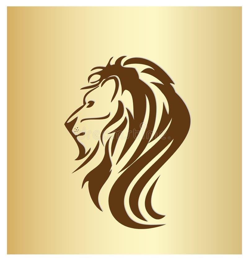 Vector principal del icono del retrato del león stock de ilustración