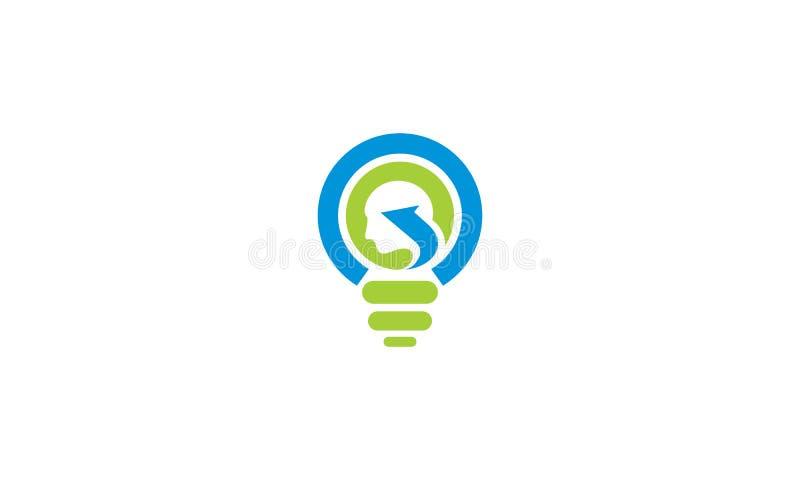 Vector principal del logotipo de la solución del márketing del bulbo del cerebro stock de ilustración