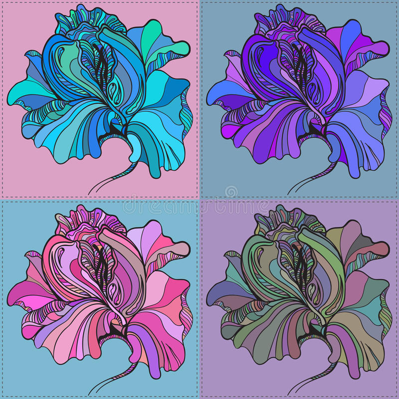 Vector print of four graphic flowers with stock illustration