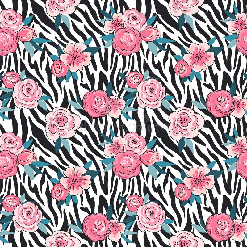 Vector print of zebra skin with flowers. Fashion background for fabric design. Seamless pattern. royalty free illustration