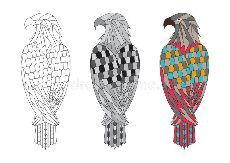vector printable coloring page adults eagle colorful black white outline illustration