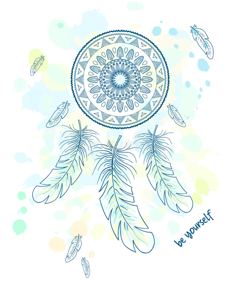 Download Vector Printable Hand Drawn Illustration With Dream Catcher With  Feathers Stock Vector - Illustration of