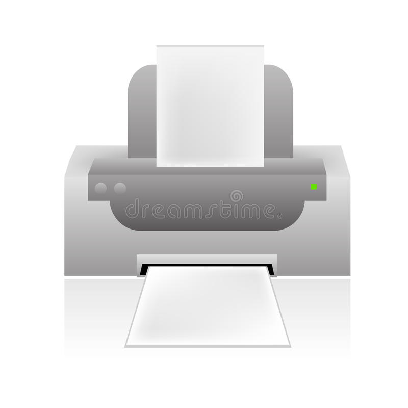 Vector printer icon. Vectored illustration of modern desktop printer device suitable for web icons stock illustration