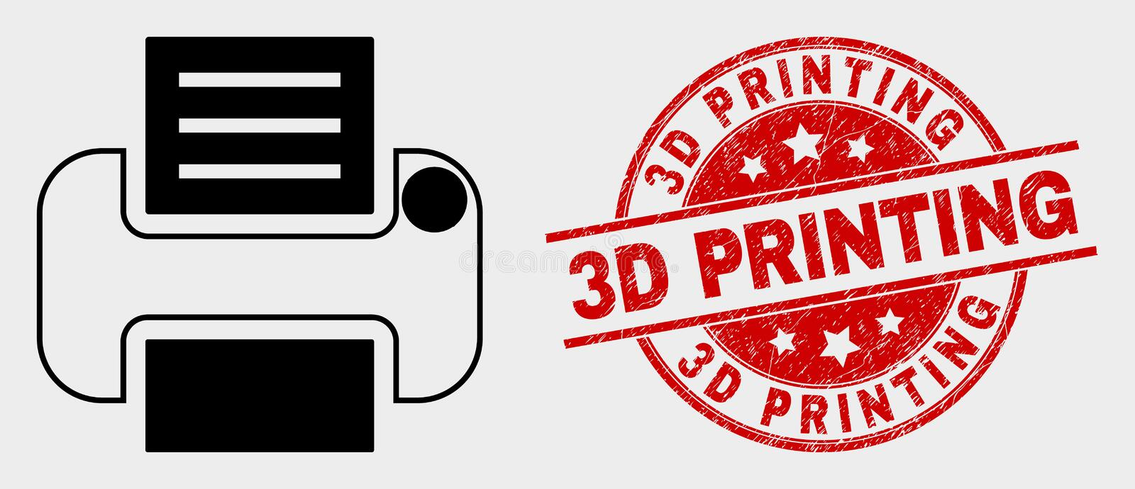 Vector Printer Icon and Distress 3D Printing Watermark. Vector printer icon and 3D Printing watermark. Red rounded scratched watermark with 3D Printing caption stock illustration