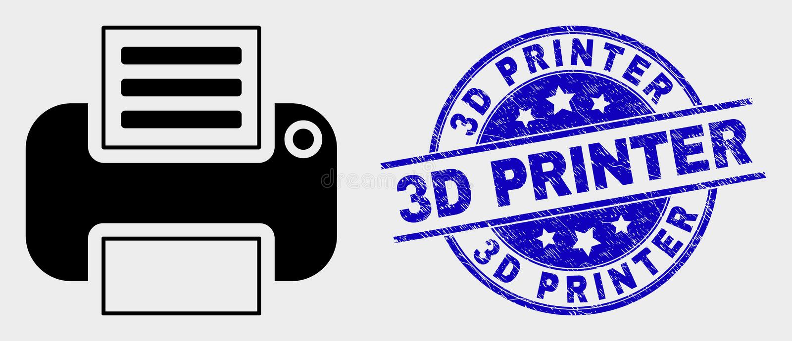 Vector Printer Icon and Distress 3D Printer Stamp. Vector printer icon and 3D Printer stamp. Red round grunge seal stamp with 3D Printer text. Vector combination vector illustration