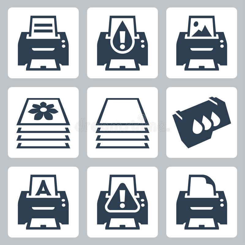 Vector printing, printer icons set royalty free illustration