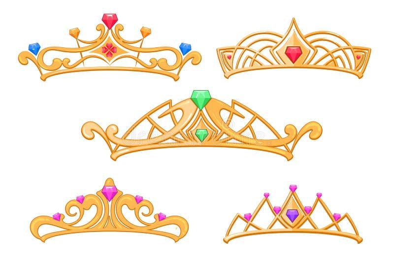 Vector Prinzessinkronen, Tiara mit Edelsteinkarikatursatz stock abbildung