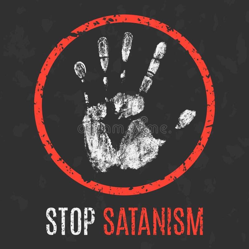Vector Problemas sociales de la humanidad Pare el satanismo ilustración del vector
