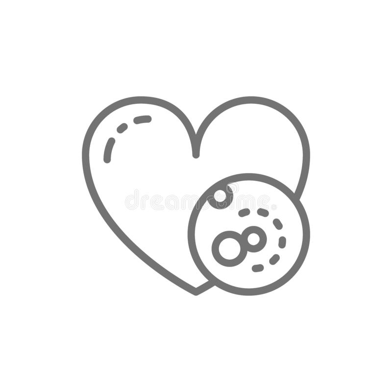 Vector problems with heart, thrombus line icon. stock illustration