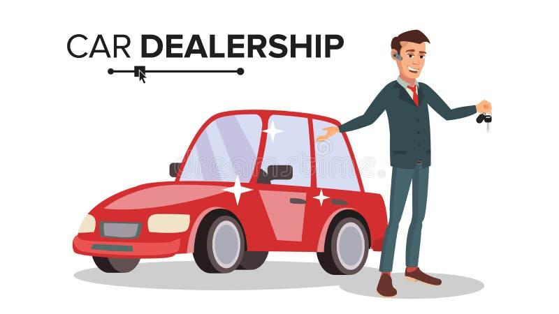 Vector profesional del concesionario de coches stock de ilustración