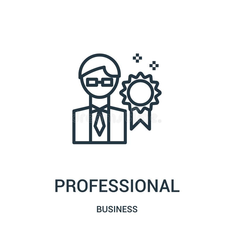 vector profesional del icono de la colección del negocio Línea fina ejemplo profesional del vector del icono del esquema Símbolo  libre illustration