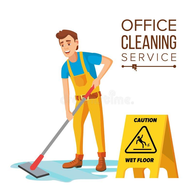 Vector profesional del limpiador de oficina Portero con el equipo de la limpieza Ejemplo plano de la historieta stock de ilustración