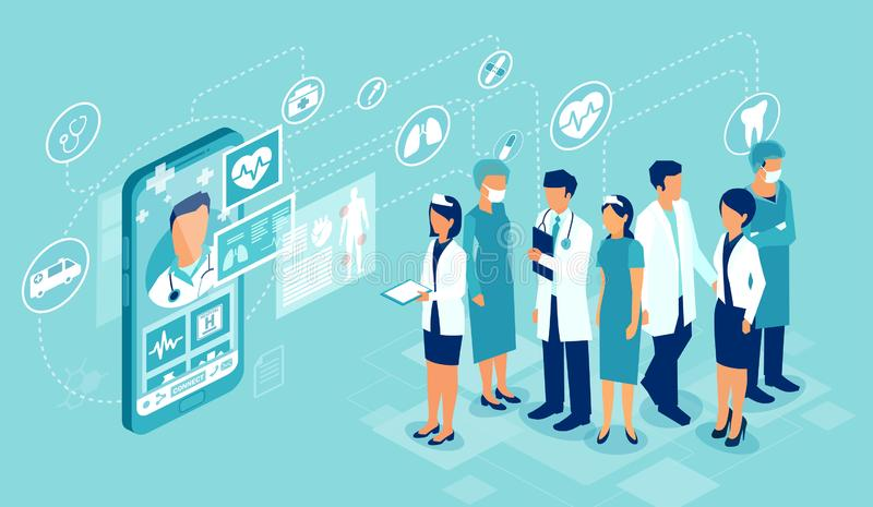 Vector of professional medical team connected online to a patient giving a medical consultation stock illustration