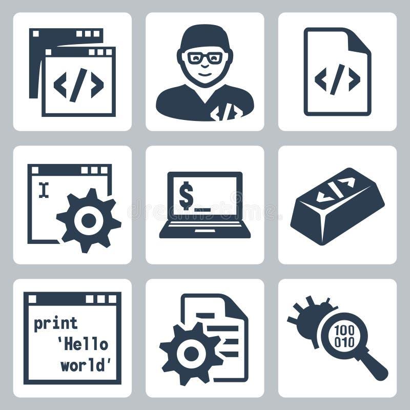 Vector programmering en software-ontwikkeling geplaatste pictogrammen stock illustratie